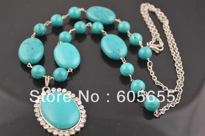 Turquoise Round Beads Chains Linked Necklace with Paved CZ beads Cabochons Pendants Fashion Jewelry 5 pc/ Lot Free Shipping<br><br>Aliexpress