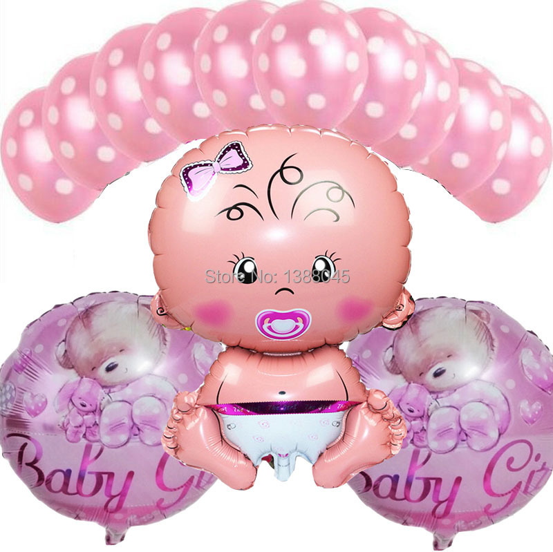 13 pcs lot baby girl birthday party helium balloons baby for Baby girl birthday decoration pictures