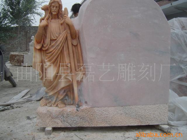 Manufacturers grant made sunset red stone angel tombstone Continental cemetery memorial stone decorative architectural sculpture(China (Mainland))