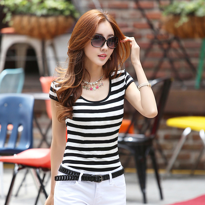 2015 Women's Round collar stripes leisure tight t-shirts short sleeves 125# S-XXL - Beautiful and Fashionable store