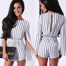 2016 fashion backless striped elegant jumpsuit split-sleeved black and white piece pants shorts sexy short summer jumpsuit 2015