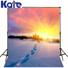 6.5X10Ft Photo Studio Backdrop Camera Fotografica Sunset Red Sky Cloud Snow Floor Footprint For Wedding Thick Cloth