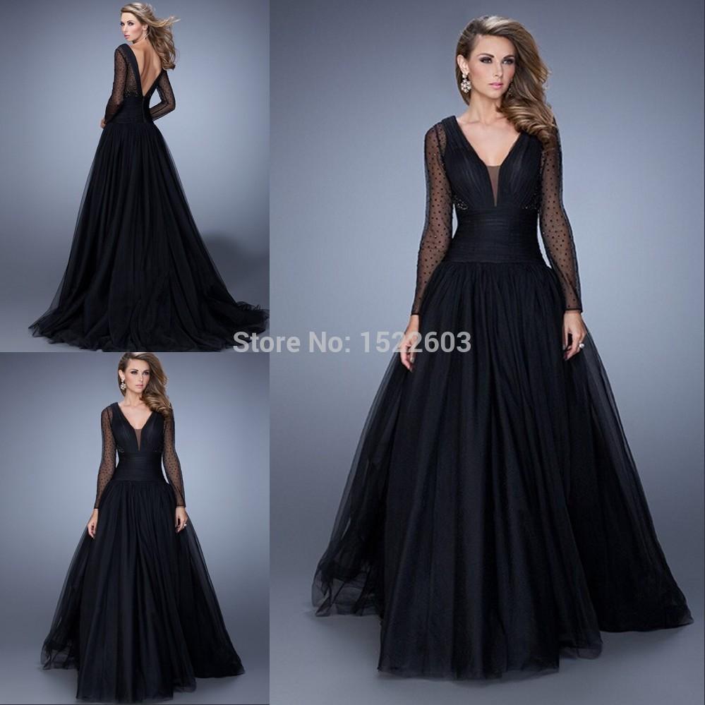 Fashion 2015 V-Neck Cap Sleeve Chiffon Long Black Sexy Prom Dresses vestido de festa Formal Gowns B481 - Find Your Perfec Dress store