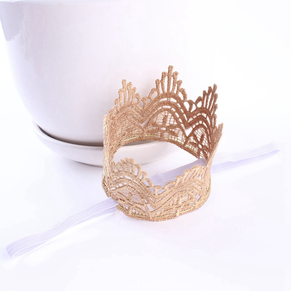 1PC New Style Gold Lace Crown Headband for Baby Hair Accessories Gold Crown for Newborn Photography Prop(China (Mainland))