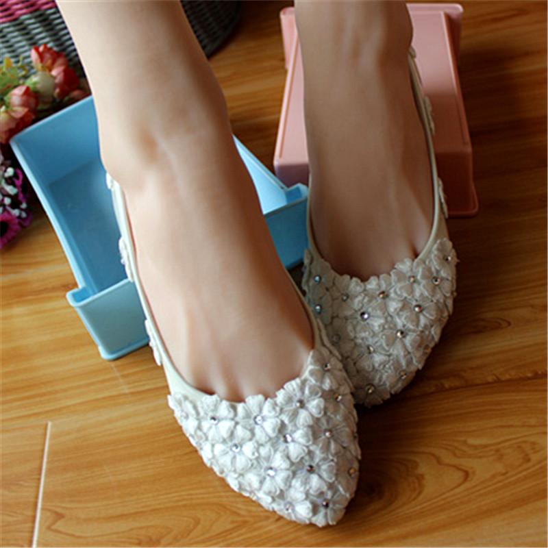 Handmade women flat white lace flower wedding shoes rhinestone star bridesmaid shoes flat heel womens low-heeled shoes Spring<br>