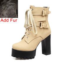 Bonjomarisa Mùa Xuân 2020 Mùa Đông Nữ Mắt Cá Chân Của Giày Plus Size 33-50 Đen 11 Cm Giày Cao Gót Đế Boot phối Ren Giày Người Phụ Nữ(China)