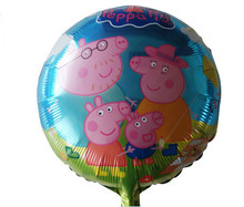 Hot! Cartoon Fancy Happy Peppa Pig Sister Family Balloons Foil Balloons Toys for childrens Kid's birthday Gift party decorations(China (Mainland))