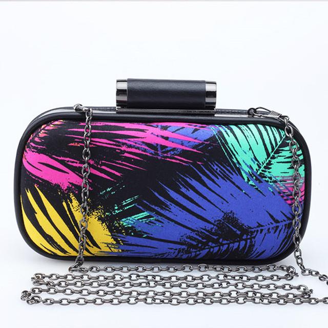 Новое поступление цветные лист шаблон клатч хит цвет свободного покроя мода цепь сумка мешок щитка подарков кошелек 3 цветов