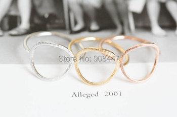 1 PCS-R27 Simple золото серебро роза открытая круг кольца шлифованный круг женщины ...