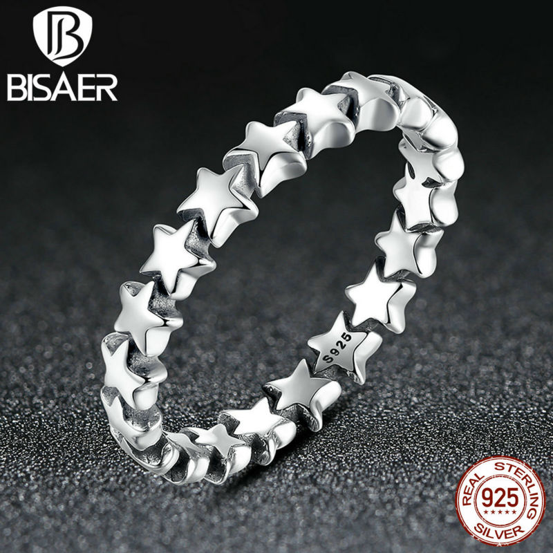 BISAER 2016 New Star Trail Stackable Ring 100% 925 Sterling Silver Rings For Women Compatible with Pandora Jewelry(China (Mainland))