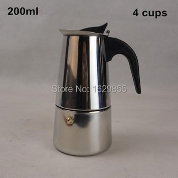 4 Cup / 200 мл нержавеющая сталь мока эспрессо латте перколяторе плитой кофе горшок