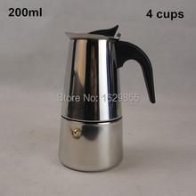 1pc 4 Cup 200ml Stainless Steel Moka Espresso Latte Percolator Stove Top Coffee Maker Pot(China (Mainland))