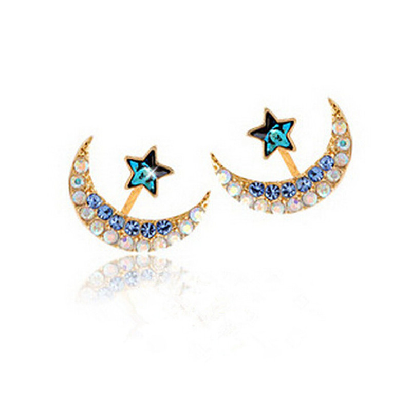 Bule earrings for women girl romantic stud earrings moon - Presentoir boucle d oreille ...