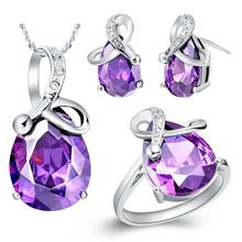 Wholesale 925 Silver Wedding Bridal Jewelry Sets Purple/Blue Crystal Rhinestone Necklace Set Necklace Earrings Ring T070(China (Mainland))