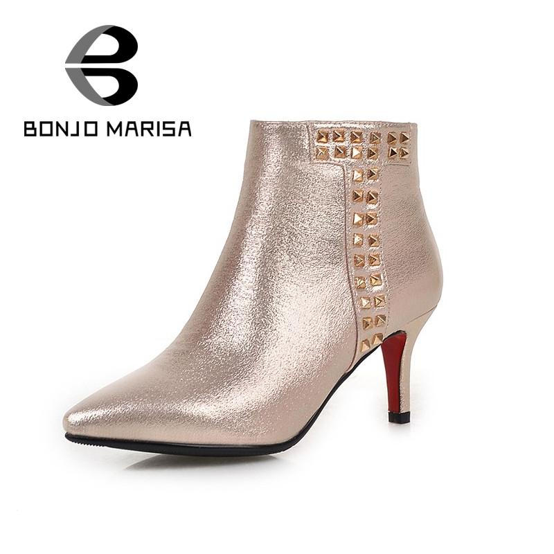 Brand New Plus Size 32-43 Ankle Boots Pointed Toe Ladies Shoes 5 Colors Zip Ridding Boots Thick Med Heel Women Shoes With Rivets<br><br>Aliexpress