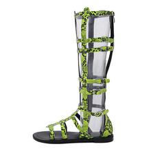 Gdgydh Zomer Gladiator Schoenen Vrouw Rome Peep Toe Vrouwen Laarzen Over de Knie Zip Cut-outs Snake Skin Vrouwen schoenen Drop Shipping(China)