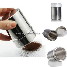 Stainless Steel Chocolate Shaker Cocoa Flour Salt Powder Icing Sugar Cappuccino Coffee Sifter Lid Hot Sale(China (Mainland))