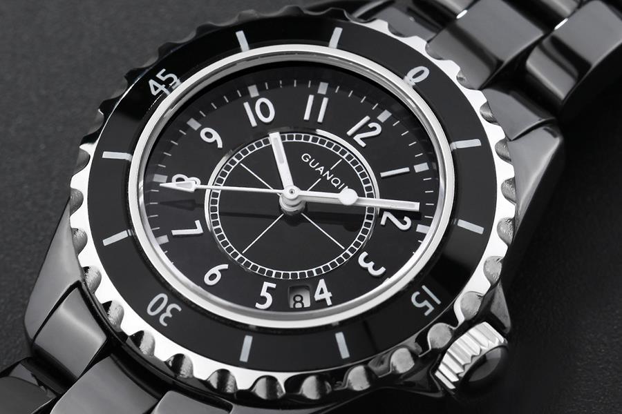Бренд GUANQIN женские часы кварцевые часы женщины кварцевые часы старинные бизнес relogio feminino Керамическая сапфир 90002