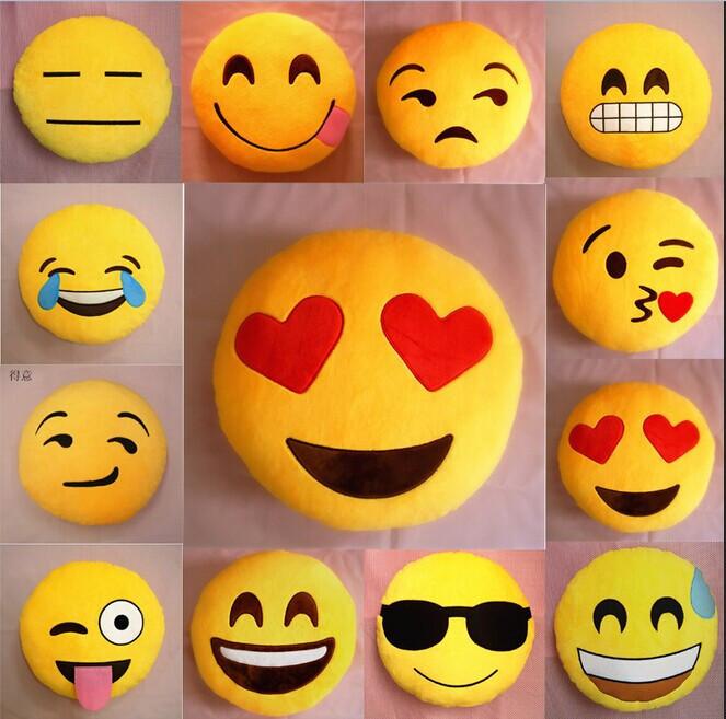 Hot Sale Emoji Pattern Yellow Round Cushion Home Decorative Pillow Stuffed Plush Soft Toy Doll 12 Emoticon Birthday Gift(China (Mainland))