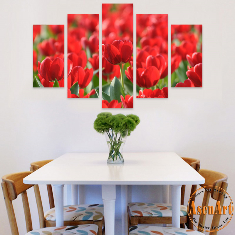 5 Panel Wall Art Canvas Prints Artwork Red Flower Painting Tulip Pictures for Living Room Bedroom Wall Decor Unframed(China (Mainland))