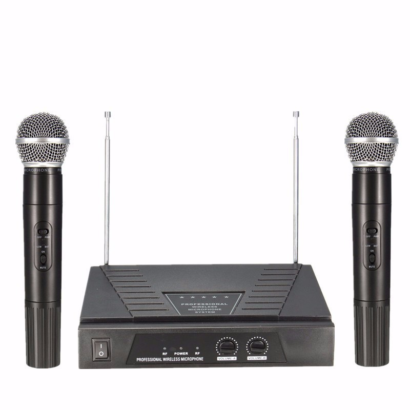 Top Selling New Stylish High Standard 50Hz Dual Handheld VHF 2 x Wireless Radio Microphone Mic System +Receiver For Karaoke(China (Mainland))