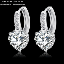 2016 Top Selling Real Platinum Plated Luxury Hoop Earring Inlay Zircon Fashion  Brilliant Heart Ladies Wedding Earring CER0151-B(China (Mainland))