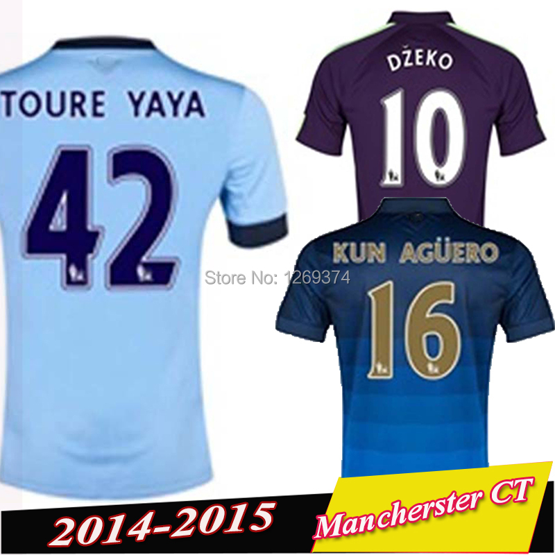 Free customized Soccer Jerseys Manchester 14 15 SILVA KUN AGUERO TOURE YAYA Jersey City 2015 Purple 3RD Home Away Blue Shirts(China (Mainland))