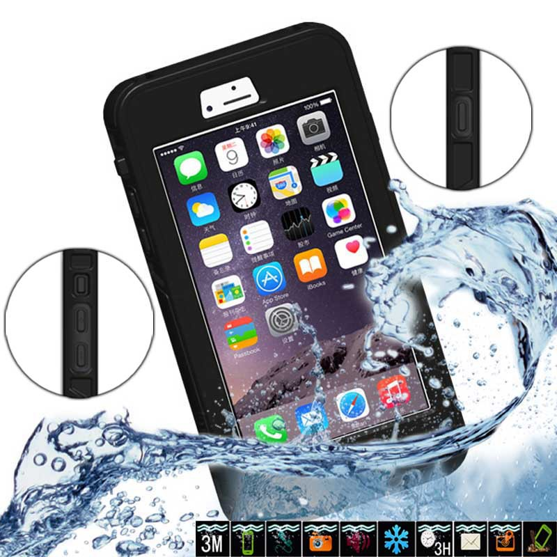 Waterproof Cases Diving Underwater Watertight 6M Case For iphone 6 Plus 5.5 inch Plastic+Silicon Phone Bag With Button Cover(China (Mainland))
