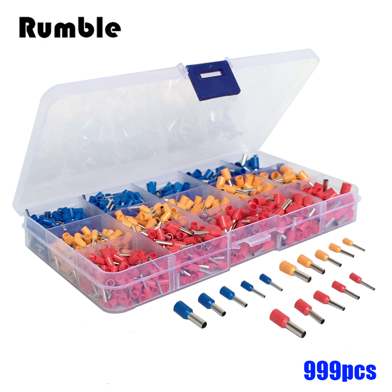 New 999pcs 22-12awg Copper Electrical Wire Connector Crimp Ferrules Terminals Kit Cable End Wire Insulated Cord Pin End Terminal(China (Mainland))