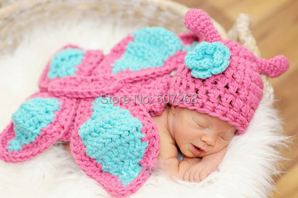 SGLOVE - Baby Kid Butterfly Hat Cape Costume Set Girl Newborn Photography Props Infant Crochet Animal Beanie Hat 1set - B127(China (Mainland))