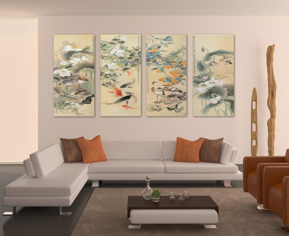 2016 Canvas Painting Cuadros Large Wall Pictures For Living Room Koi Fish Art 4 Piece Canvas Fashion Home Decoration Chinese(China (Mainland))