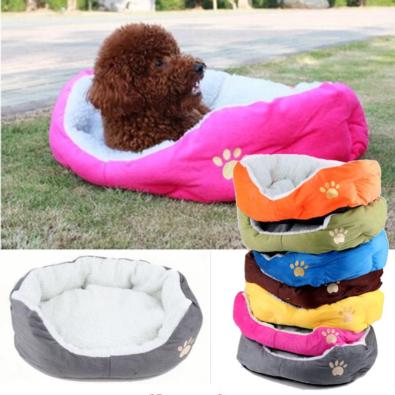 Paw Print Cats Puppy Beds Comfortable Pets Dog Kitten Beddings House  Pet Dog Puppy Cat Soft Fleece Bed House Cozy Nest Mat Pad