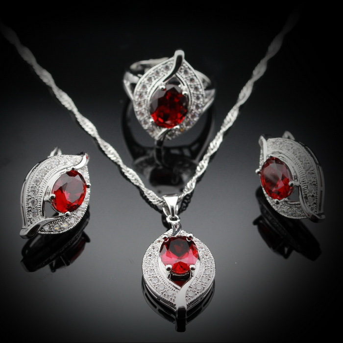 925 Sterling Silver Red Garnet Jewelry Sets For Women Silver Earrings/Ring/Pendant /Necklace Ladies Christmas Gift JS13(China (Mainland))