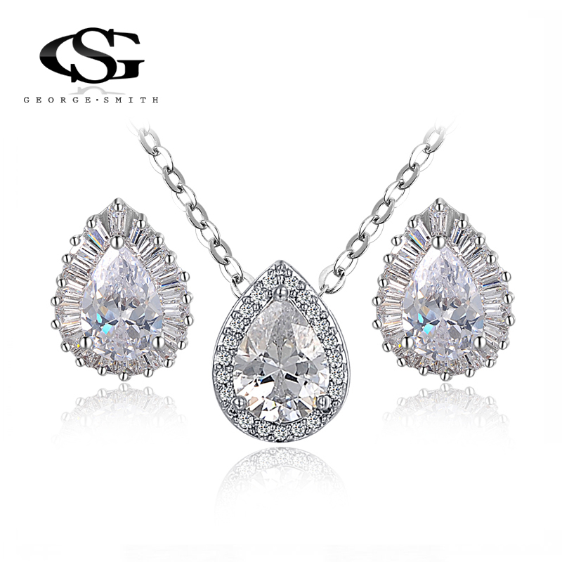 G&S Gift Fashion Crytal Tears Set Gift Girlfriend 100% Hand made Fashion Jewelry Earrings+Necklace Big OFF