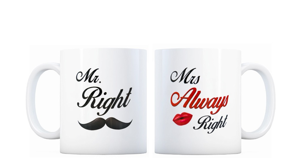 2 pieces set Mr Right Mrs Always Right wife husband coffee mugs gifts heat sensitive Black colour change Tea Cups white mug gift(China (Mainland))