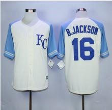 2016 Mens 16# Bo Jackson jersey Color blue beige Stitched Throwback Jerseys Size:M-XXXL(China (Mainland))