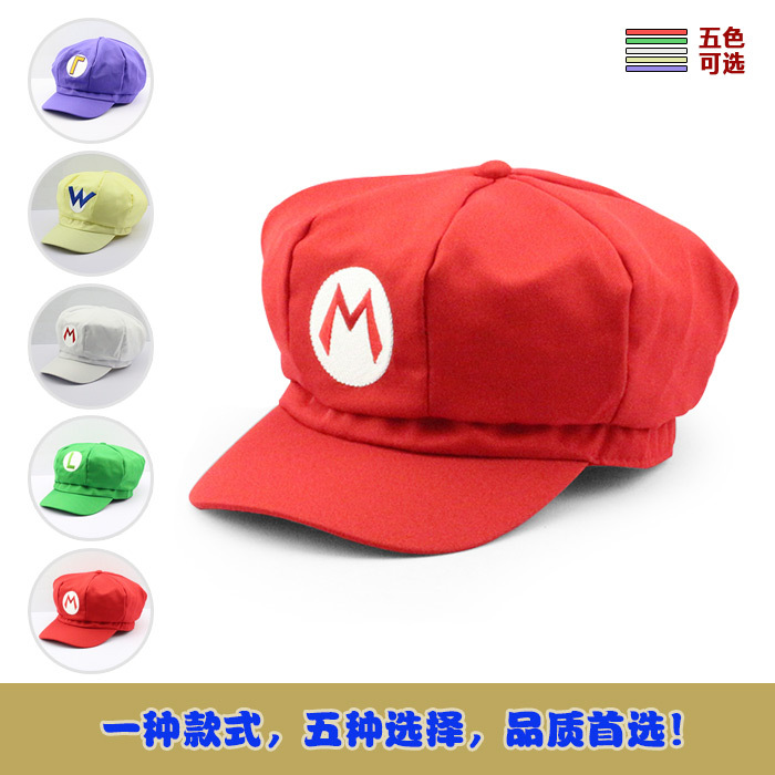 Super Mario Cotton Caps hat Red Mario and luigi cap 5 colors Anime Cosplay Halloween Costume Buckle Hats Adult Hats Caps(China (Mainland))