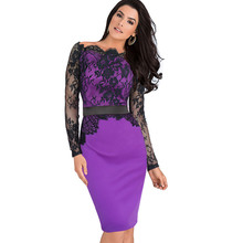 Vfemage Women Elegant Pinup Vintage Retro Lace Off Shoulder Patchwork Belted Stretch Colorblock Bodycon Party Fitted Dress 719(China (Mainland))