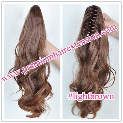 "20"" Body wave Claw Clip Synthetic Ponytail Hair Extensions clip in ponytail hair pieces # light brown free shipping"