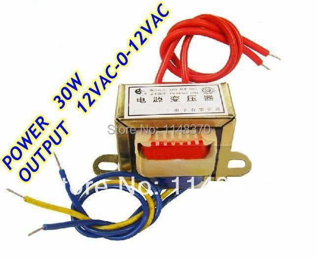 30W EI Ferrite Core Input 220V 50Hz Output 12VAC 0 12VAC Vertical Mount Electric Power Transformer