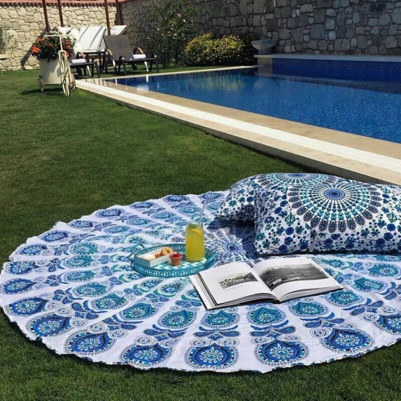 Indian Mandala Round Hippie Tapestry Wall Hanging Tapestries Boho Printed Beach Throw Towel Yoga Mat Rug Blanket Home Decor
