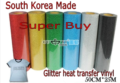 Glitter PU heat transfer Vinyl film 0.5mx25M Made in South Korea high quality Choose from 25 colors For T-shirt print(China (Mainland))