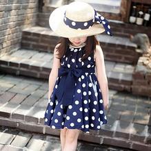 za Baby Girl kids clothes woven navy/white knee length Polka dot vestidos For Girls Summer Children Vintage Dress free shipping