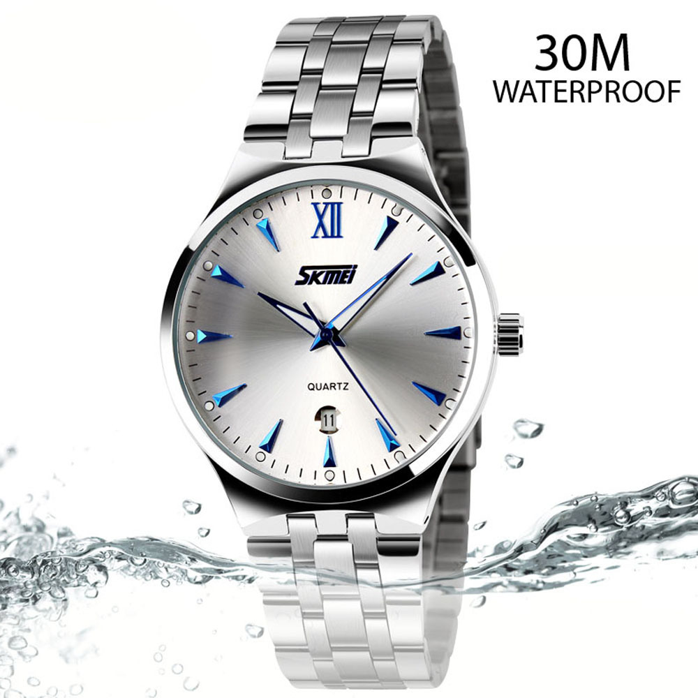 New 2015 Fashion Brand Men Steel Dress Watch Quartz Watch For Men Full Steel Watch Luminous