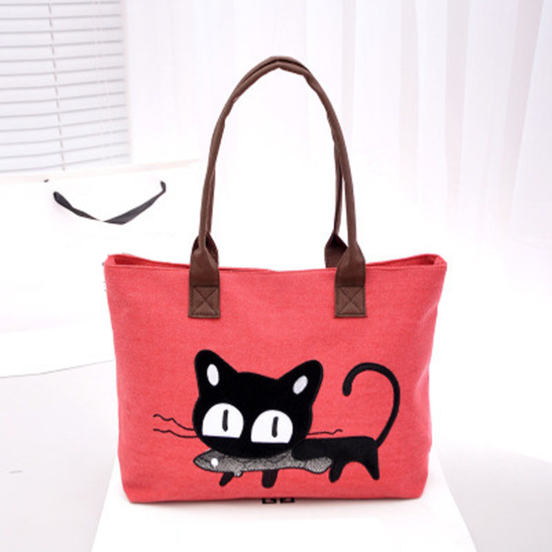 New FashionNew Arrival Women Canvas Bag Cute Cat Shoulder Bag Office Lunch 5 Colors Bag bolso de las mujeres for women(China (Mainland))