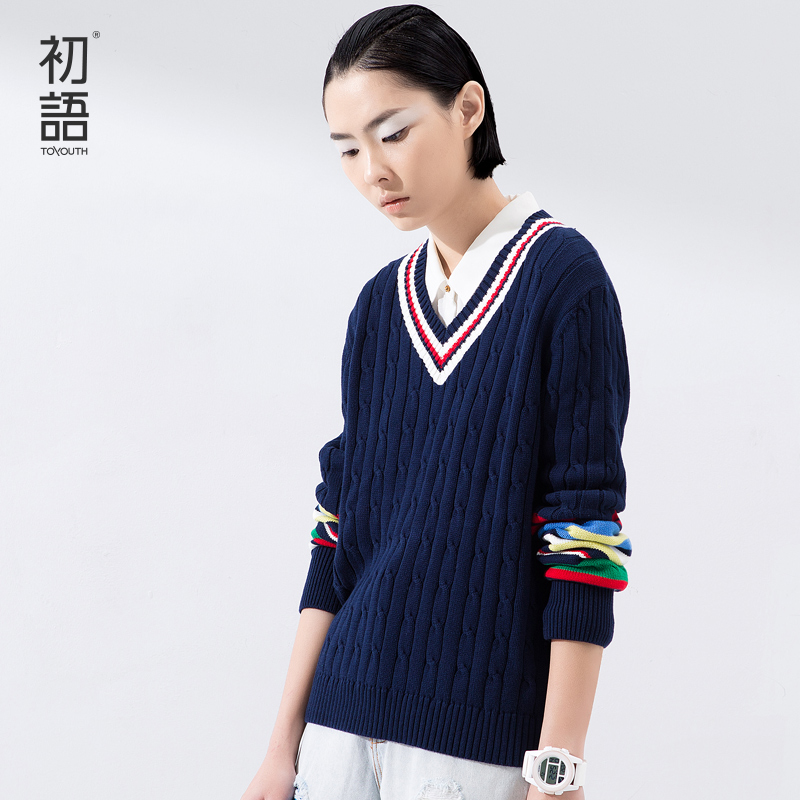 Toyouth 2016 Spring Women Clothing V-Neck Sweaters Long Sleeve Loose Pullovers Lady Knitted Sweaters Casual Tops(China (Mainland))