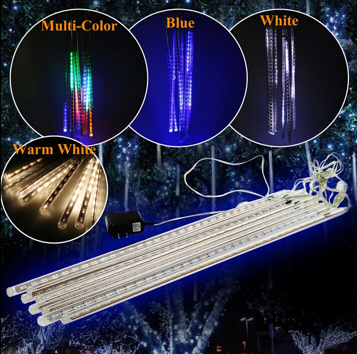 50CM Meteor Shower Rain Light LED Christmas Wedding Garden Decoration String Light Waterproof 8 Tube Super Bright free shipping(China (Mainland))