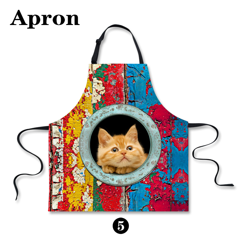 Fashion Cute Cat Unisex Apron for Restaurant Chef Home Kitchen Cooking Cleaning Work Aprons for Women Men Waiter Bibs(China (Mainland))