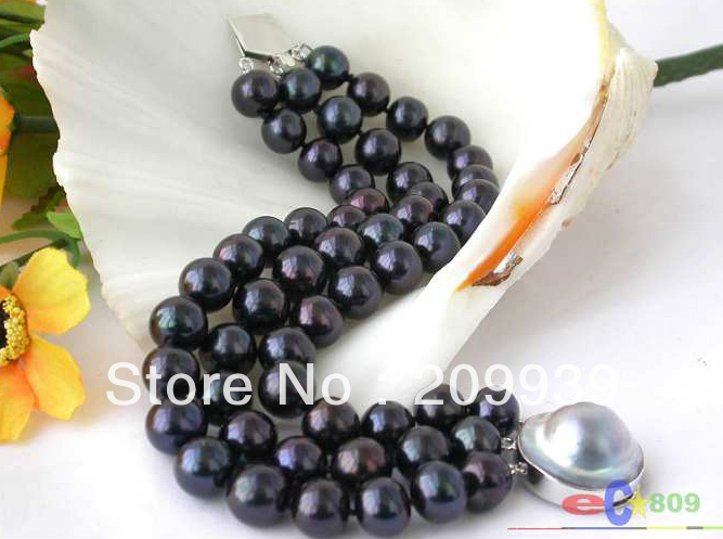 huij 00191 3ROW 8 11MM BLACK ROUND FRESHWATER PEARL BRACELET 925SILVER MABE<br><br>Aliexpress