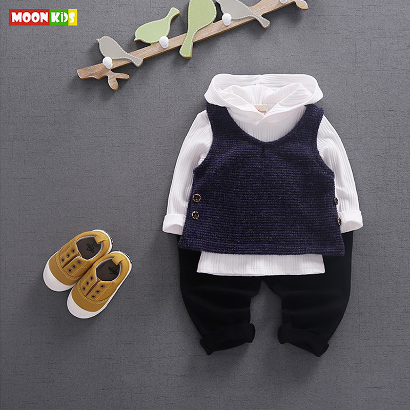 MOON KIDS Cotton Casual Clothing Set Newborn Cute Baby Boy and Girls Clothes Autumn Long Sleeve Hoodies+Pants New Clothing Sets(China (Mainland))